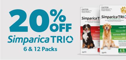 20% Off Simparica trio 6 & 12 packs
