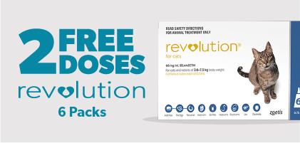 2 Free doses Revolution Cat 6 packs