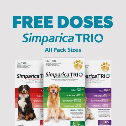 Free Doses Simparica Trio All Sizes