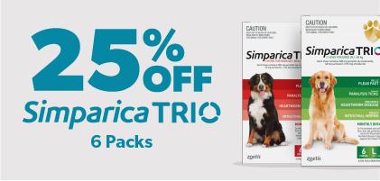 25% Off Simparica Trio 6 packs